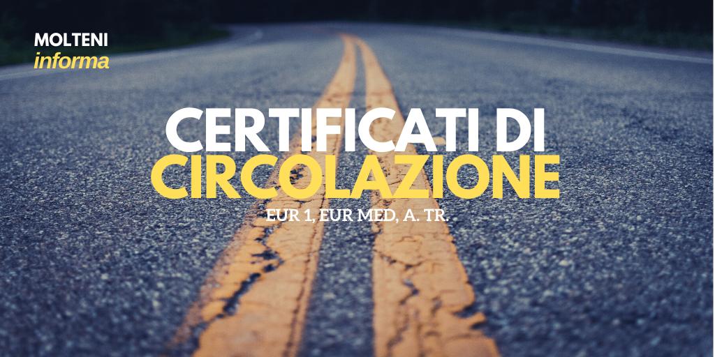 Certificati di circolazione
